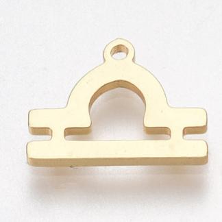 Deze bedel van roestvrijstaal is te koop bij kralenwinkel Limited Edition in Den Haag in de kleur goud in de vorm weegschaal.