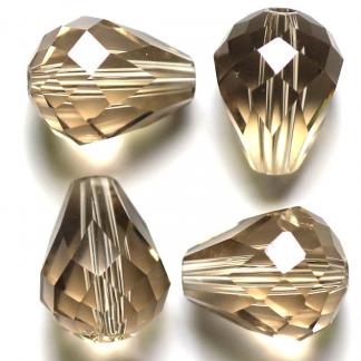 Deze glazen facet druppel kralen zijn te koop bij kralenwinkel Limited Edition Den Haag in de kleur silver champagne.