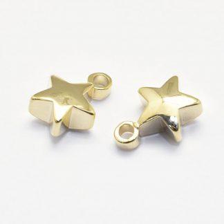 Deze bedel in de vorm van een ster is te koop bij kralenwinkel Limited Edition in de kleur goud.