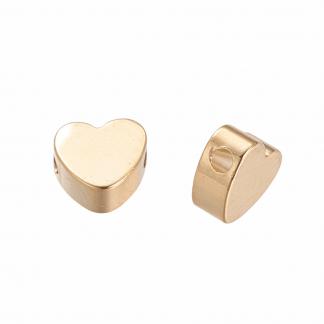 Deze kraal in de vorm van een hart is te koop bij kralenwinkel Limited Edition in de kleur goud.