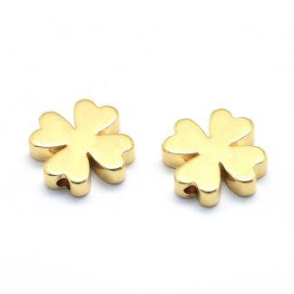 Deze kraal in de vorm van een klavertje is te koop bij kralenwinkel Limited Edition in de kleur goud.