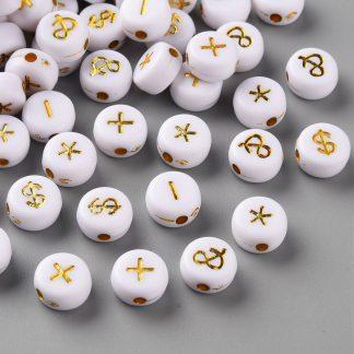 Deze wit multicolour acryl letter kralen zijn te koop bij kralenwinkel Limited Edition in Den Haag in de vorm van symbolen.