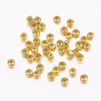 Deze knijpkraaltjes zijn te koop bij kralenwinkel Limited Edition in de kleur goud.