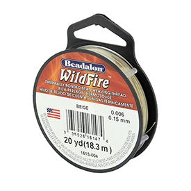 Wildfire draad van Beadalon is heel sterk en word vaak gebruikt in patronen en is te koop bij kralenwinkel Limited Edition in de dikte 0.15 in de kleur Beige.