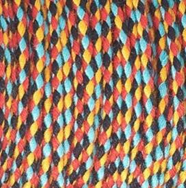 Dit gevlochten katoen koord is te koop bij kralenwinkel Limited Edition in Den Haag in de kleur Oranje Rood Turquoise Zwart.