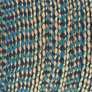Dit gevlochten katoen koord is te koop bij kralenwinkel Limited Edition in Den Haag in de kleur turquoise beige blauw goud.