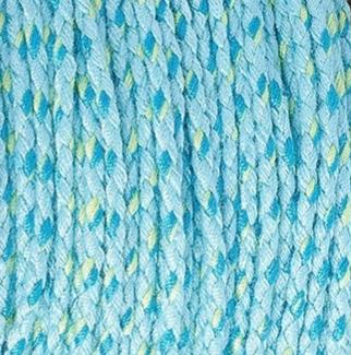 Dit gevlochten katoen koord is te koop bij kralenwinkel Limited Edition in Den Haag in de kleur licht blauw donker blauw groen.