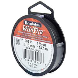 Wildfire draad van Beadalon is heel sterk en word vaak gebruikt in patronen en is te koop bij kralenwinkel Limited Edition in de dikte 0.15 in de kleur Black.