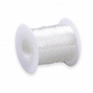 Doorzichtig elastiek van 0,8 mm dik die gekocht kan worden bij kralenwinkel Limited Edition in Den Haag.
